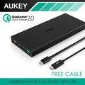 Aukey 16000 mah de energía de control de calidad 2.0 banco de la energía de batería externa con 2 puertos usb para samsung galaxy s6/s6 edge/edge +, nota 5, nota 4