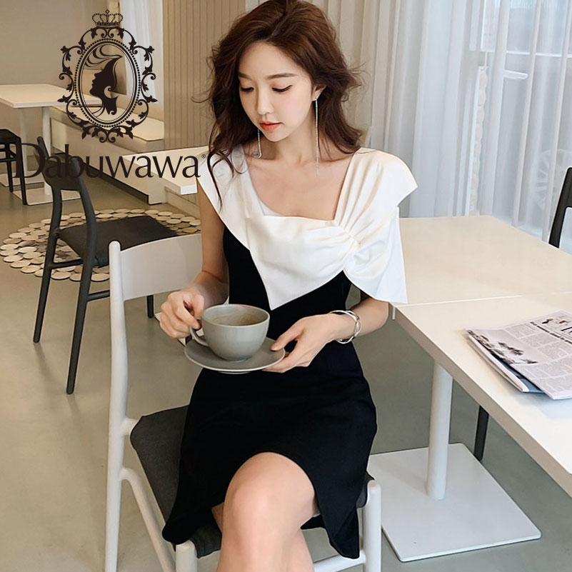 Dabuwawa Women Dress 2019 Summer New Black White Contrast Sleeveless A line Dress Elegant Bow Dress