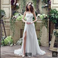 Luxury Crystal Pearl Vintage A Line Beach Wedding Dress Chiffon Pleat Marriage Front Slit Lace Up