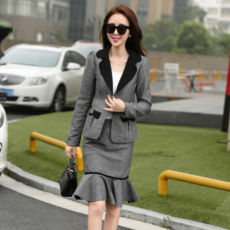 Ladies-Skirt-Suits-2016-New-Fashion-Ruffles-OL-Uniform-Skirt-Suit-Full-Sleeve-Blazer-and-Skirt