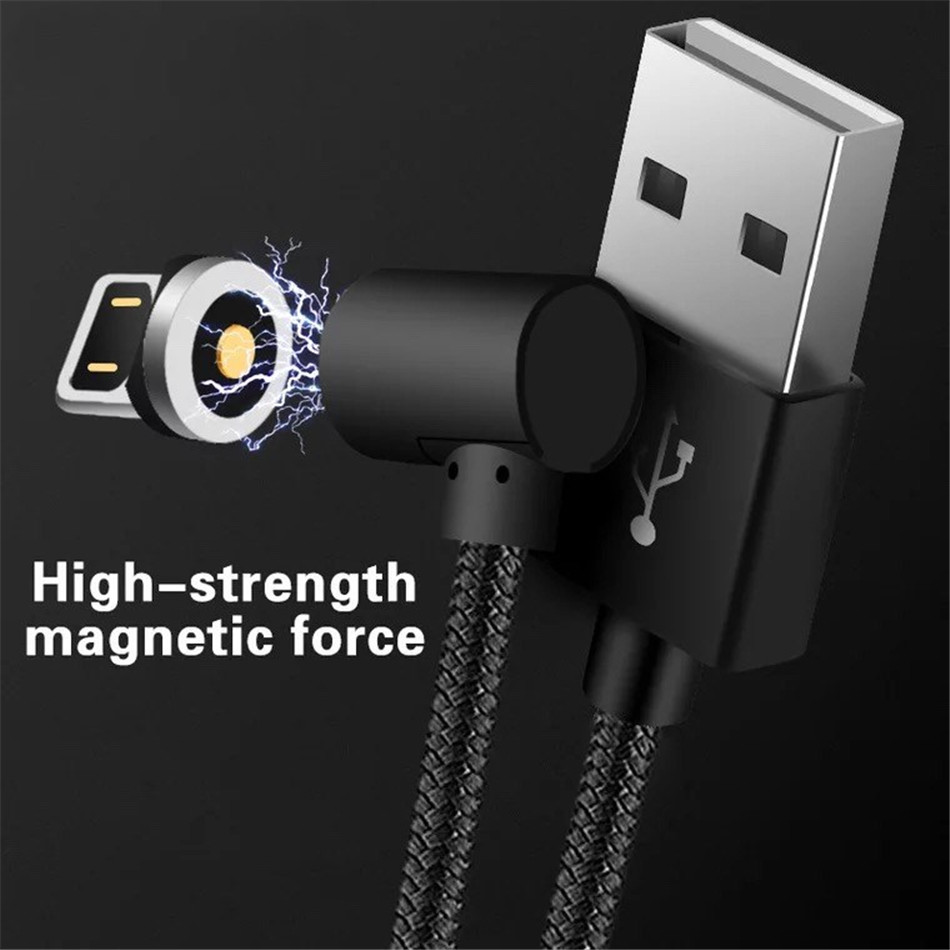 NOHON Elbow Magnetic Fast Charge Cable Lighting Micro USB Type C For iPhone X 7 8 Samsung Universal Phone Magnet Charging Cables (1)