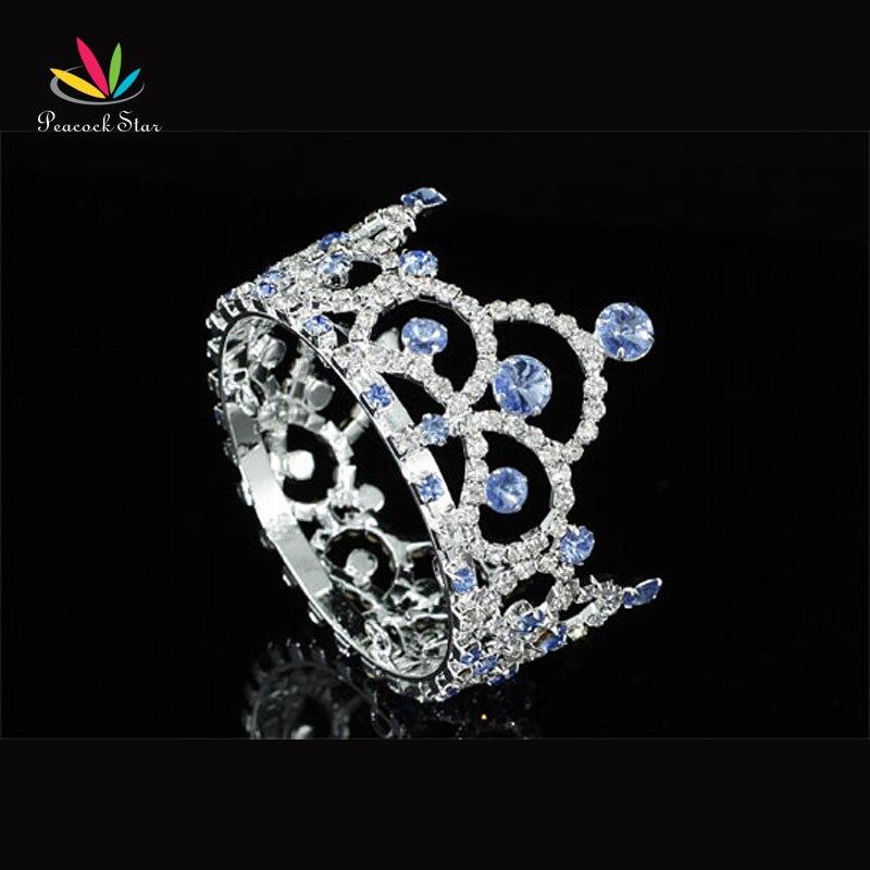Peacock Star Wedding Bridesmaid New Born Baby Crystal Full Circle Round Blue Mini Crown Tiara CT1764