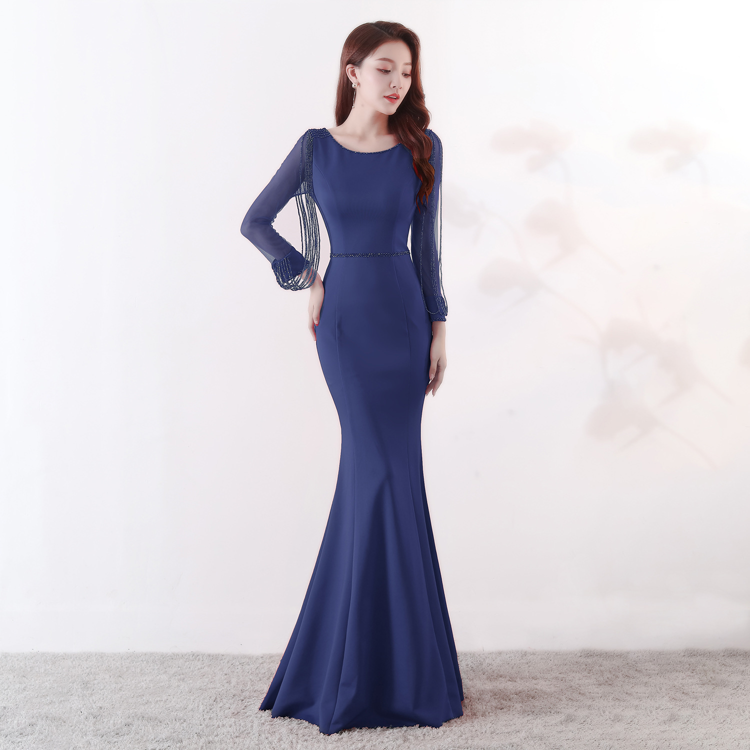 Evening Dresses 2019 Long Sleeve Scoop Sparkle Elegant Little Mermaid Autumn Winter Long Formal Party Prom Gowns Gwisg Nos