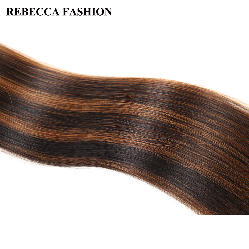 Rebecca Double Drawn Hair 113g   Silky Straight  Hair Piano Brown 613 Blonde Colors  Bundles 1pc 5