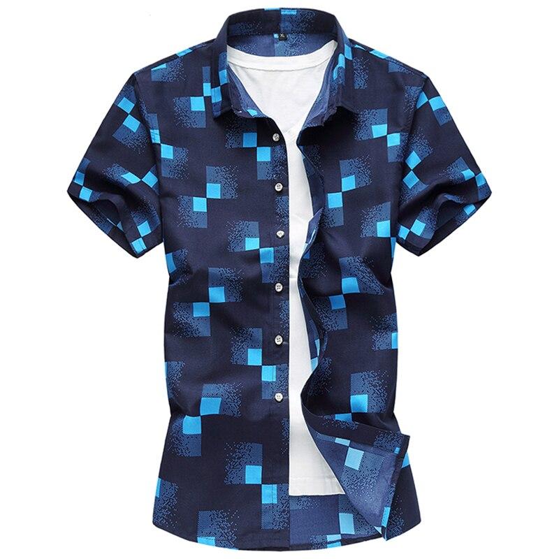 2020 High Quality Shirts Casual Slim Fit Plaid Short Sleeve Shirts Men Dress Camisa Social Masculina Manga Longa  Plus 7XL