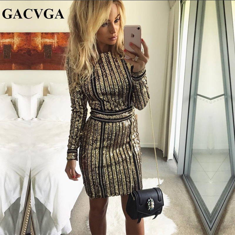GACVGA 2019 Sexy Party Dresses Autumn Winter Long Sleeve Striped Sequin Dress With Belt Sexy Nightclub Playsuits Vestidos Платье