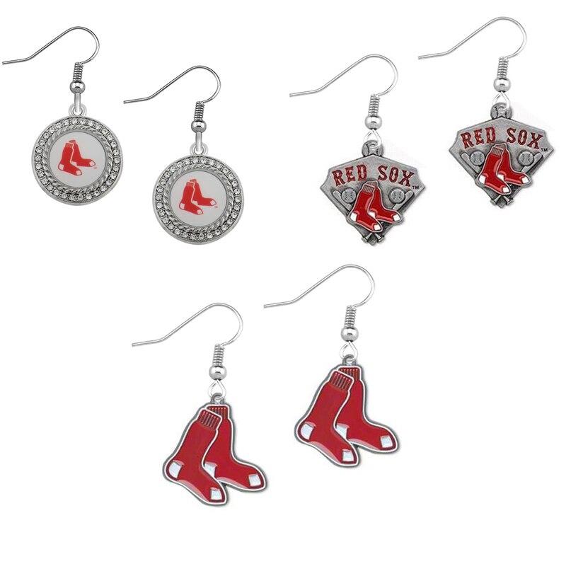5Pairs Baseball Sport Jewelry Drop Earrings Boston Red Sox Metal Alloy Sport Team For Women Jewelry Earrings
