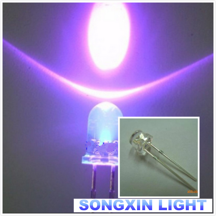 100PCS Purple Light F5 5mm Round Ultra Violet LED UV Light 390-395nm Lamp