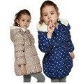Caliente venta 2016 niños abrigo de invierno los niños pato abajo Jakcet chicas con capucha de punto caliente Outwear a prueba de viento ropa ropa de bebé