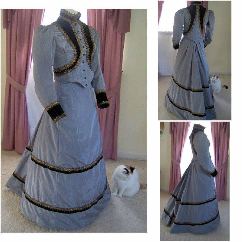 История! Заказные платья на Хэллоуин готическое косплей платье В Викторианском Стиле Ренессанс платье стимпанк SZ US6-36 V-218