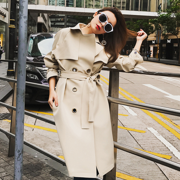 Trench   Coat 2018 Top Wide-waisted For Women's Clothing Spring Autumn New Long Double Ring Holes Windbreaker With Belt