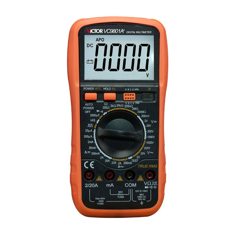 VICTOR VC9801A+ Digital Multimeter DMM AC/DC Ammeter Voltmeter Ohmmeter w/Capacitance hFE Test & LCD Backlight