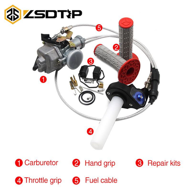 ZSDTRP For CG200 200CC Engine Motorcycle Keihin PZ30 30mm Carburetor With Handle Grips Throttle Grips Cable Repair Kits Set image