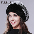 FURTALK Rex Rabbit Fur Hat Rabbit Fur Beret Women Winter Fur Hat