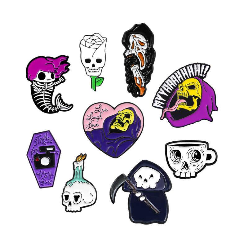 Halloween Skeleton Seri Bros Hitam Gaun Hantu Tengkorak Kapak Api Lilin Cangkir Kopi Putri Duyung Tulang Rose Skull Peti Mati Enamel