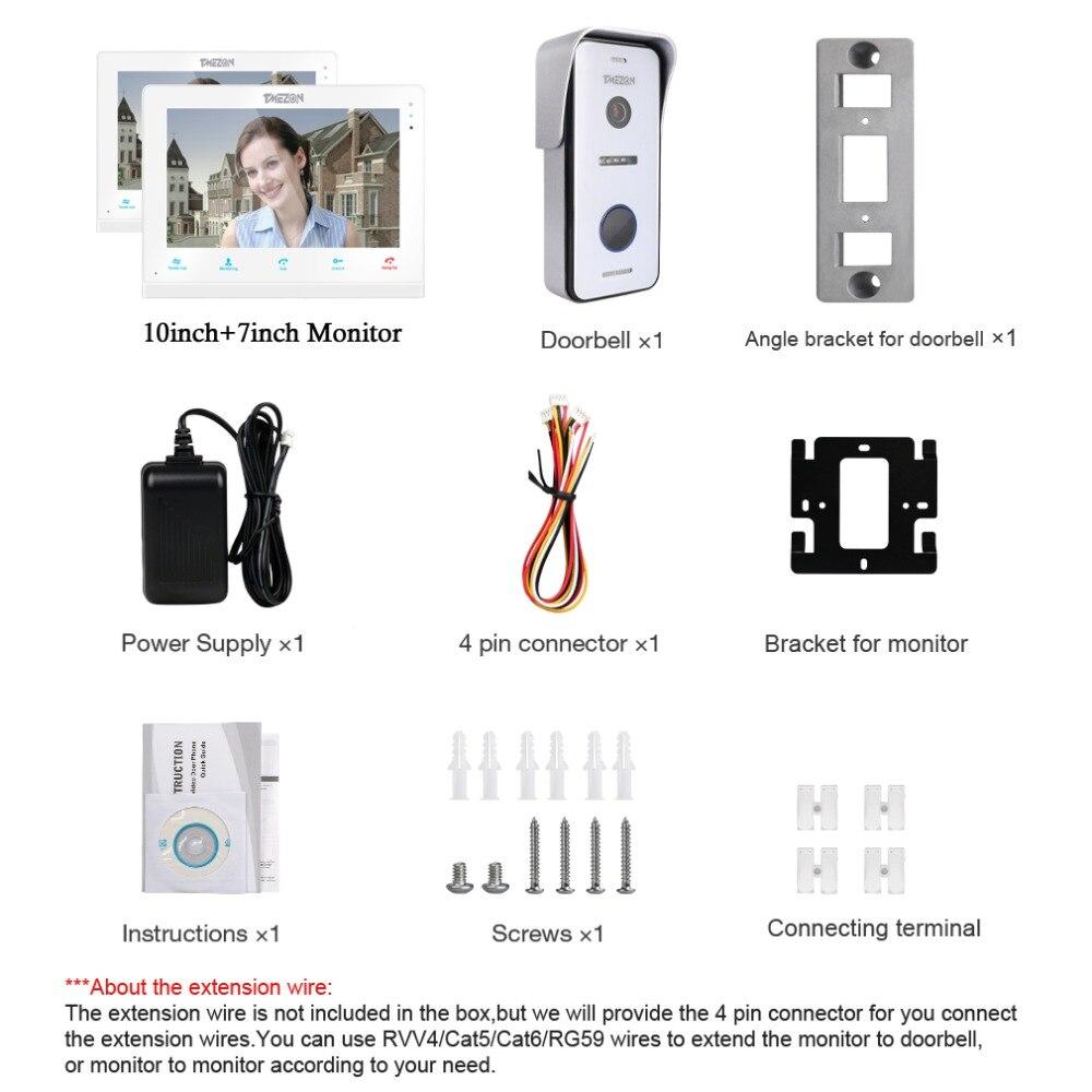Купить с кэшбэком TMEZON  Wireless/Wifi Smart IP Video Doorbell Intercom System ,10 Inch+7 Inch Screen Monitor with 1x720P Wired Door Phone Camera