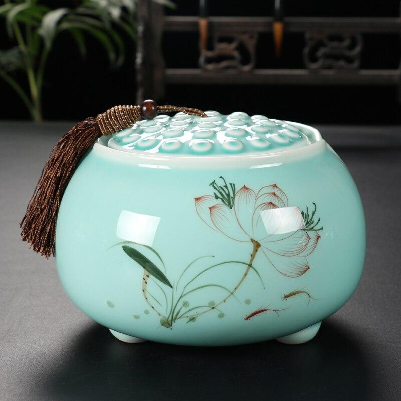 2018 China manual ceramic tea canister Gift storage jar Tea caddy Sugar Bowl Salt shaker storage tank coffee can candy pot