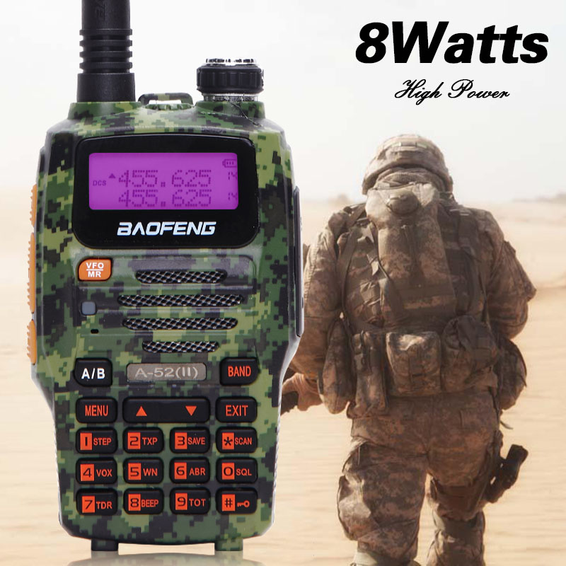 Baofeng A-52(II) Walkie Talkie (A-52 Upgraded Version ) VHF&UHF Dual CB Radio VOX FM Transceiver 128CH 8W Handheld Two Way Radio