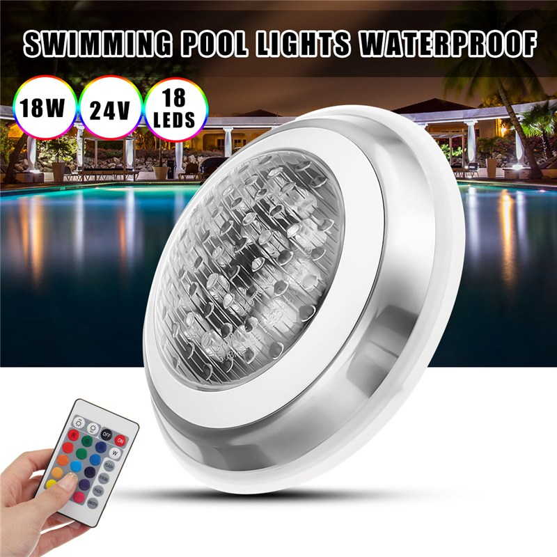 18W 24V LED Swimming Pool Lights Bulb RGB With Remoter Control Underwater Lamp IP68 Waterproof Outdoor Lamp Pond Light jiawen 9w 12w rgb swimming led pool lights underwater lamp outdoor lighting pond lights led piscina lamp dc 12 24v