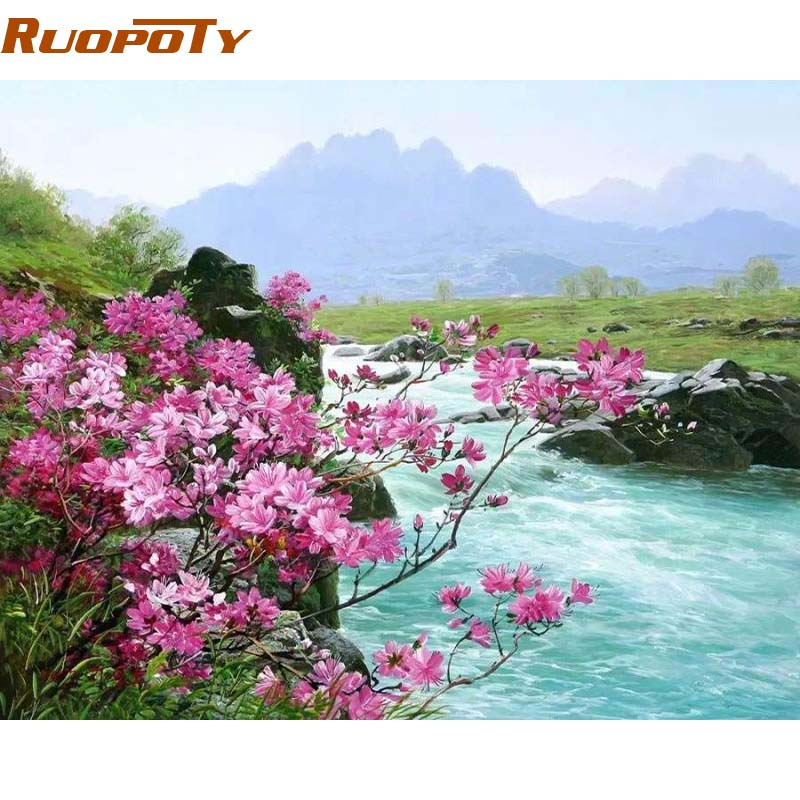RUOPOTY Frame Flower River Landscape Diy Painting By Numbers Handpainted Oil Painting Home Wall Art Picture For Room Decoration