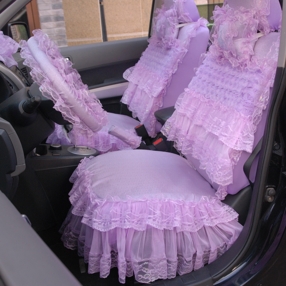 Hot women auto accessories purple bright lace car seat cushion covers pad auto-styling car seat cloth accessory 19PCS HB07 ...