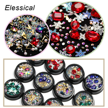 Elessical Nail Rhinestone Mix Crystal 3D Charm Designs Nail Art Set Decoration Beads For Nail Accessories Glitter Rivet Manicure