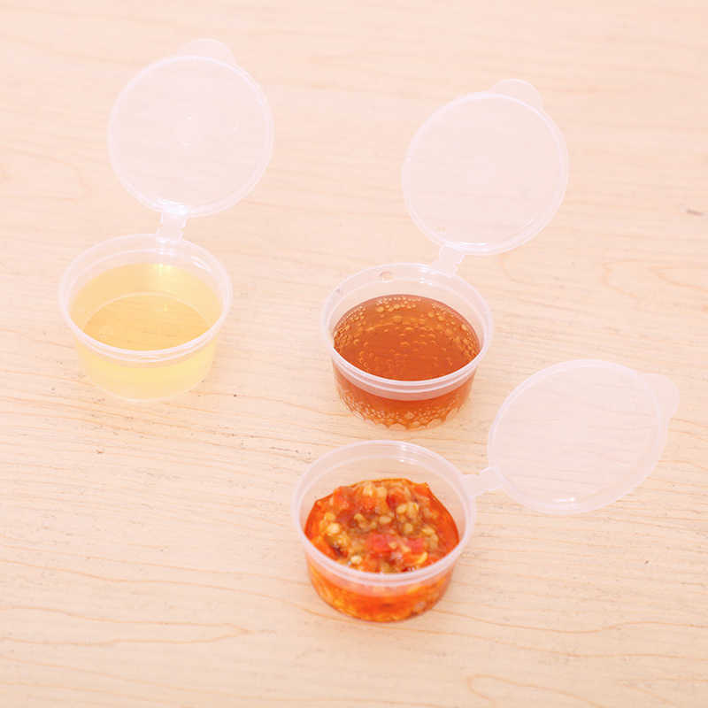 HUORONG 30pcs/set Disposable Condiment Plastic Cups Clear 35ml Vinegar Sushi Sauce Boxes Family Home Dinnerware DropShipping