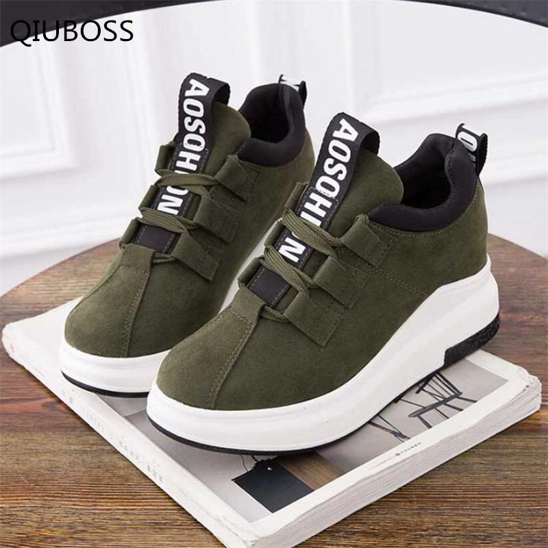 QIUBOSS Spring New Designer Wedges  Platform Fashion Sneakers Women Flat Shoes  Lace-up Women Casual Shoes Basket Femme Q221