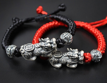 Real S925 Silver Bracelet Black Red Rope Retro Pixiu Bead Sutra Lover Gift 16cmL New