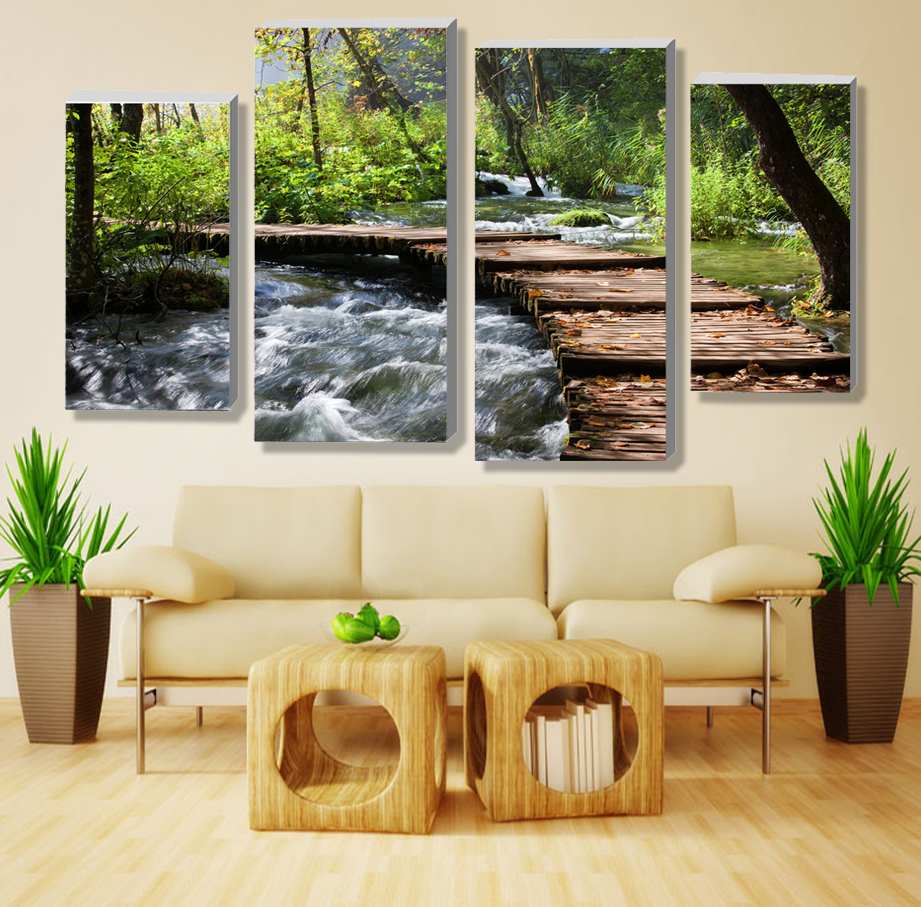 4pcs(no Frame)retro Waterfall Definition Pictures Canvas Prints Home  Decoration Living Room Wall