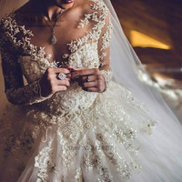 Vestido De Casamento 2017 Lace Long Sleeve Wedding Dress Luxury Sparky Bride Dresses Ball Gown Princesa