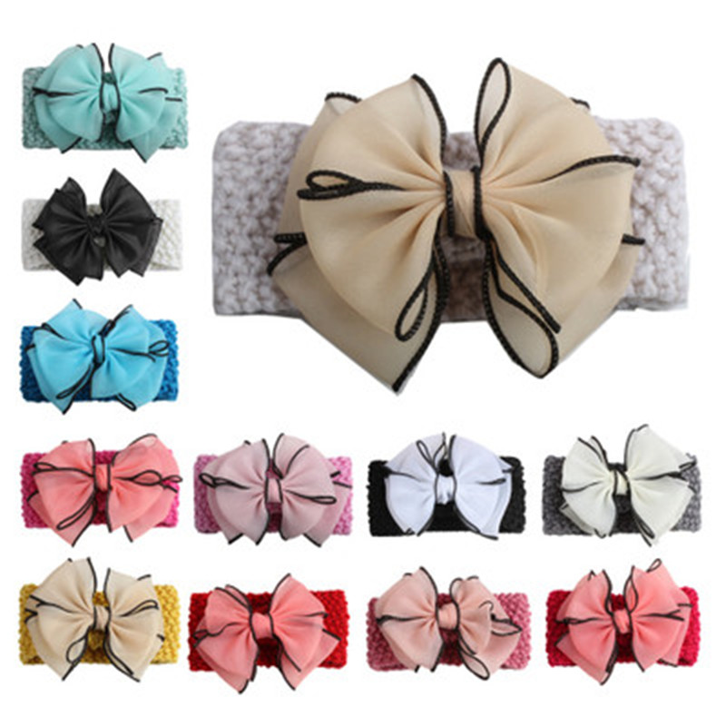 Girls Wave Elastic Headbands Bow-knot Hair Accessories For Girls Infant Hair Bow Band Baby Girl Hair Accessories Baby Headband