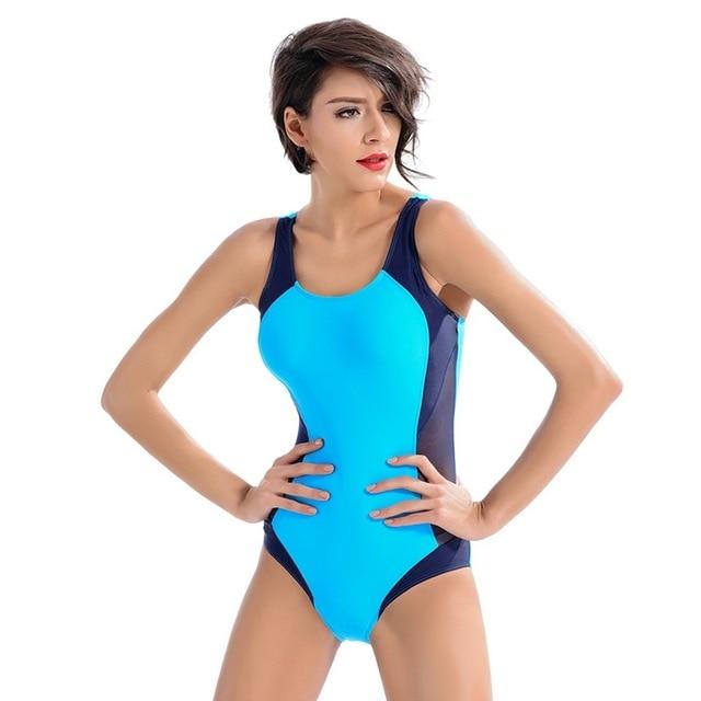 d3ea2642a5b99 Vertvie Women 2018 Sexy One Piece Swimsuit Women Sports Gym Swimwear Girls  Plus Size High Waist One Piece Bathing Thong Bikini
