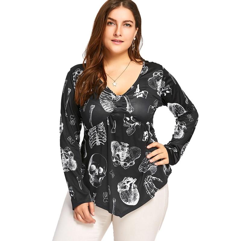 Women Plue Size V Neck Long Sleeve Tops Skull Pumpkin Print Irregular Hem Tops Casual Shirt Tunic Tops Blusas Feminina Black 5XL ...