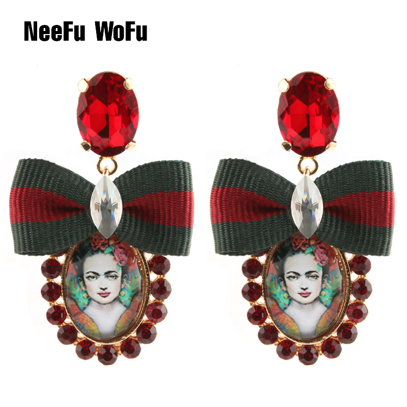 NeeFu WoFu Drop Earrings Crystal Earring Big Earring Oval Large Long Brinco Ear Beauty avatar Oorbellen Christmas Gift 2018