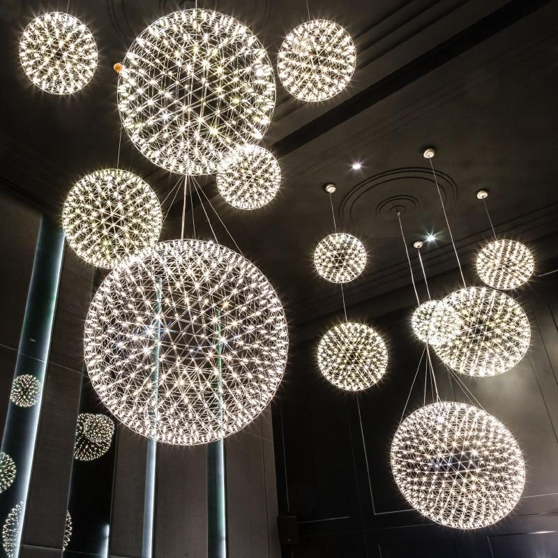 LED Modern Fireworks Pendant Lamps Ball Stars Hanging Pendant Lights Fixture Nordic Hotel Shopping Mall Home Indoor Lighting