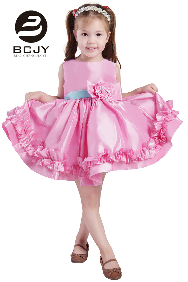 2019 Real High Quality Pink Lovely Ball Gown Beaded Lace pageant   Flower     Girl     Dresses   2019 Satin Bow Knee Length Kids Party Gowns
