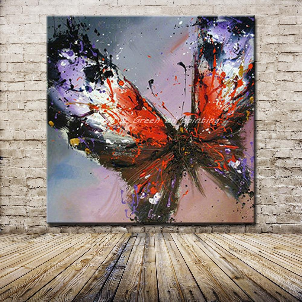 100% Handmade Modern Abstract Butterfly Oil Painting On ...