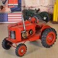 Red Classic Tinplate Handcraft Tractors Collection Showcase Craftwork Handmade Retro Tractors Model