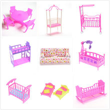 Bedroom Furniture For Barbie Dolls Dollhouse Girl Birthday Gift Double Bed Cradle Pillow Dolls Accessories Fashion Plastic Bed(China)