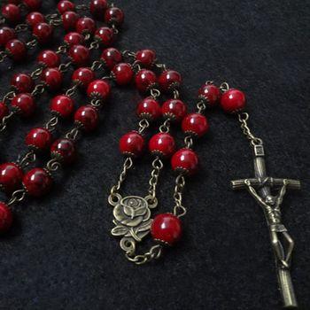 7edd37493375 Moda europea Vintage católico Rosario Cruz cristal collar pendiente largo