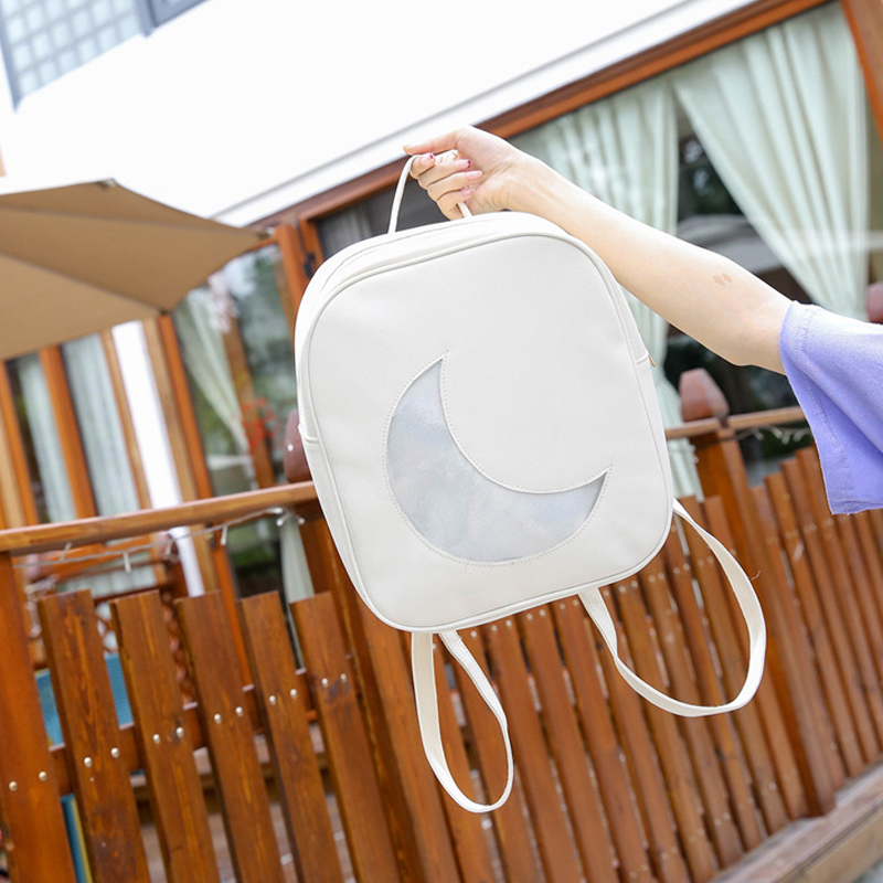 Women School Bag Clear Moon Design Ita Bag Girls Backpack 6 Colors Transparent Harajuku Backpacks Leather Schoolbag
