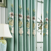 Modern Minimalist Embroidery Chenille Curtains For Living Room Fabric Bedroom Floor Window Warm Shading Cloth