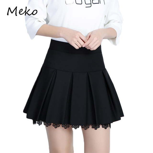 67f5b354f6 New Spring Summer Women's Skirt Korean Pop Fashion Short Skirt Pure Black  Pleated A-skirt Short Sexy Lace Summer Skirt CW63