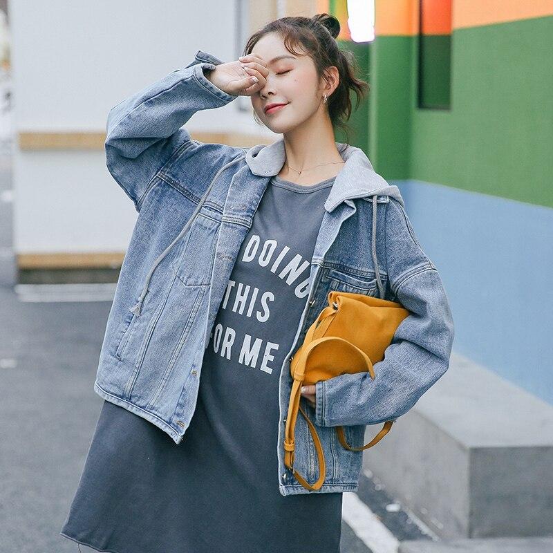 Woman Jeans Denim   Jacket   Outwear Female   Basic   Coat Femme Short Jean   Jackets   With Hat Casual Bomber Shorts