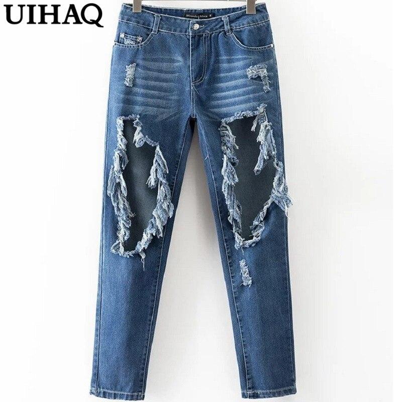 Elegante Cintura Alta Buraco Rasgado Jeans Mulher Outono Moda de Nova Casual Denim Calças Jeans Mulheres Full-length Calças WD530