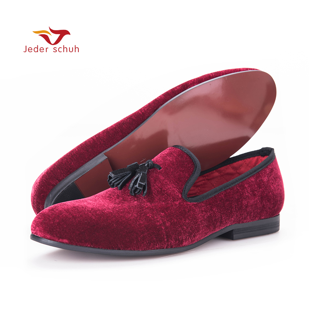 Jeder Schuh men velvet shoe with velvet tassel Party and Wedding men dress shoes British style men loafers fashion men's flats handcraft men velvet shoes with bird embroidery british style smoking slippers fashion party and wedding men dress loafers