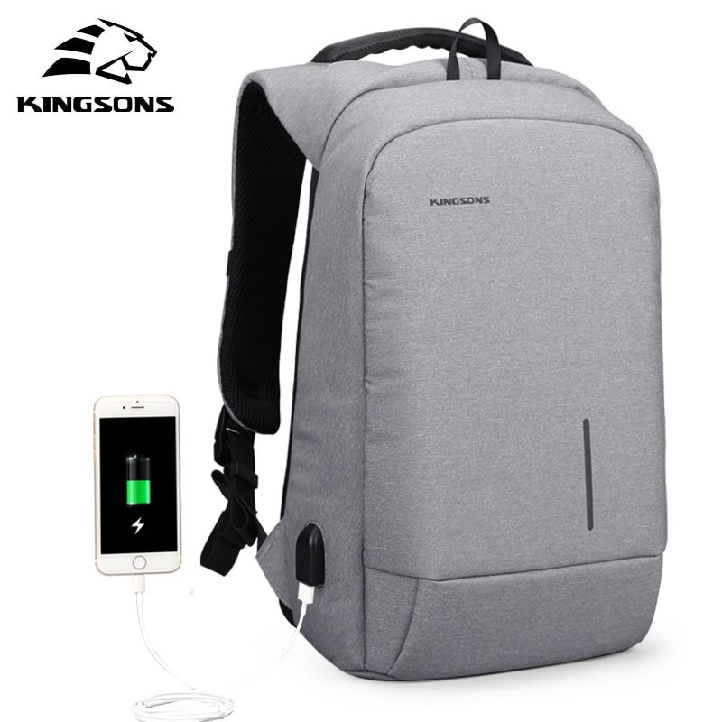 Kingsons Anti-theft Lock Backpack Phone Sucker Laptop Bags 13''15'' Usb Charging Backapcks  School Bag
