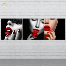 Picture And Poster Canvas Painting Modern Wall Art Print Pop  Red Lips Ladies Pictures For Living Room 3 PIECES