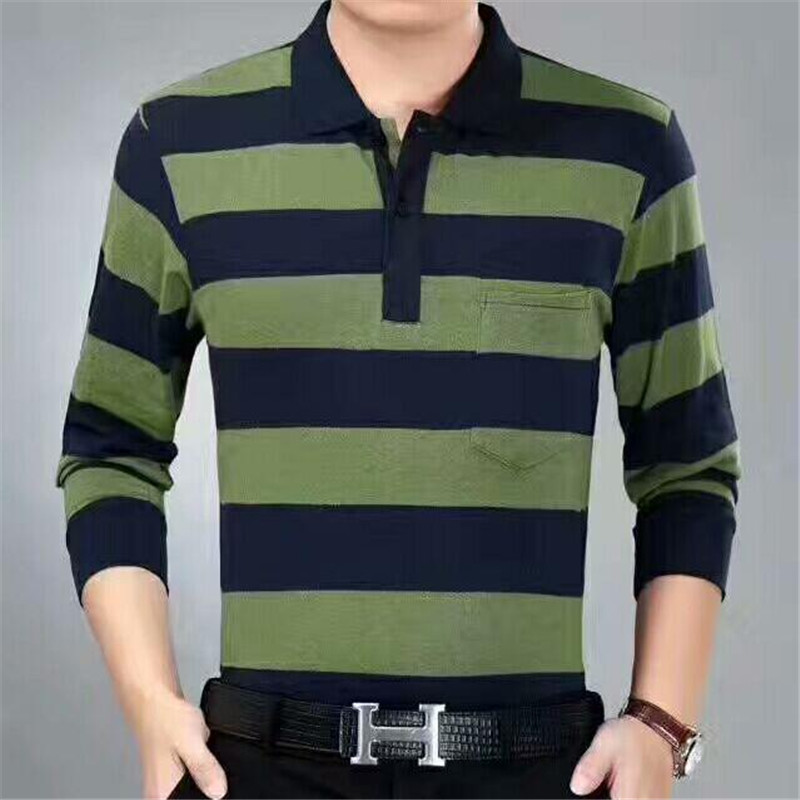 2017 Brand Men Fashion Casual Solid Polo Shirt  Clothing Autumn Winter New Men Polo High Quality Long Sleeves Striped Polo Shirt